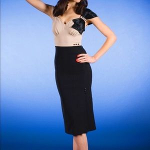 Stop Staring Black and Tan Harlow Wiggle Dress